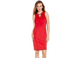 VINCE CAMUTO RED Bodycon Sheath Dress w/ V-Neck & Gold Hardware (Sz- 6) ... - $38.99