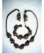 Vintage Gold Tone Jewelry Set Necklace Bracelet Earrings Pearls & Clear ... - $19.75