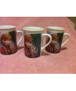 3)  DISNEY COFFEE MUGS / CUPS--2014--FROZEN--ELSA--OLAF---FREE SHIP--VGC - $25.05