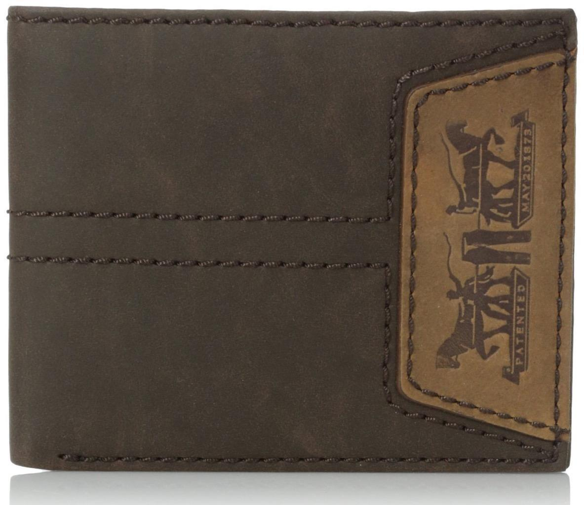 NEW LEVI'S PREMIUM CLASSIC LEATHER BIFOLD ID CREDIT CARD WALLET BROWN 31LV2207