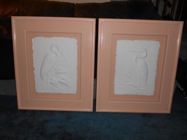 Old Vtg PELICAN RELIEF SCULPTURE Wall Hanging Set 2 Artist Signed STUNNI... - $296.99