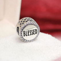 Genuine Pandora Blessed Silver Charm with Clear Cubic Zirconia ENG79201... - $64.95