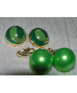 Vintage Lot Light & Dark Green Enamel Swirl Dome & Large Metallic Bead D... - $9.49