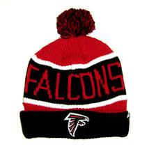 47 Brand NFL Atlanta Falcons Black Red Stripe Cuffed Knit Pom Beanie Hat Cap - $17.81
