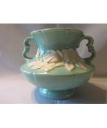 """Weller 5 1/4"""" Aqua Squat Handled Vase, White Dogwood Shiny Glaze Bouquet - £11.57 GBP"""