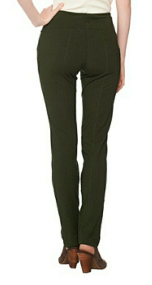 Women With Control Olive Slim Leg Pants w/ Tummy Control Womens Sz S