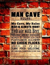 Man Cave Rules Wooden Hanging Plaque Men Indoor Decoration Sign Board we... - $3.91