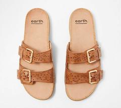 Earth Perforated Leather Slide Sandals- Sand Antigua Alpaca 8 M - $69.29