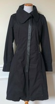 NEW MACKAGE Black Leather Wool Blend Zip-Front Coat Jacket Tweed Lined 27302 L - $399.99
