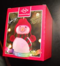 Lenox Wonder Ball Snowman Christmas Ornament Red Knit Hat Lit Ornament Boxed - $19.99