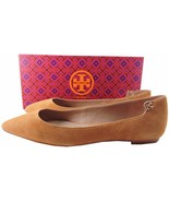 Tory Burch Elizabeth Pointy Toe Flats Ballerina Royal Tan Suede Shoe 7.5... - $139.00