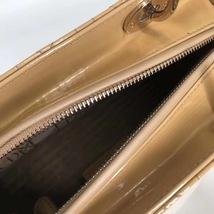 Authentic Christian Dior Lady Dior Medium Beige Patent Shoulder Tote Bag GHW image 9