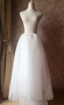 4-Layered White Tulle Skirt White Maxi Tulle Skirt Petticoat White Bridal Tutu  image 4