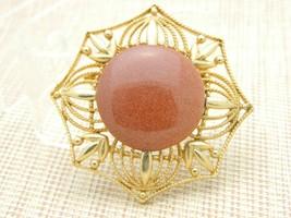 Gold Tone Bronze Goldstone Large Medallion Pin Brooch Vintage - $29.70