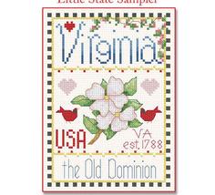 Virginia Little State Sampler cross stitch chart Alma Lynne Originals - $6.50