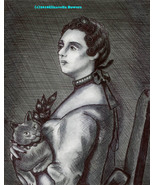 Victorian woman with cat portrait original ink drawing pets black and wh... - $19.99