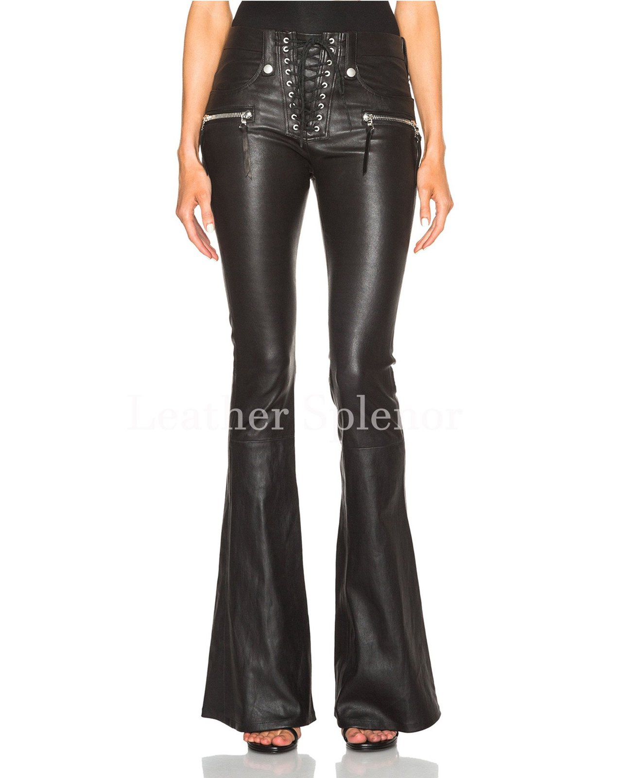 Front Lace Details Bell Bottom Women Leather Pant