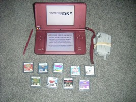 Nintendo DSi XL BURGUNDY Handheld System Console and Game lot ds Brown red - $67.30