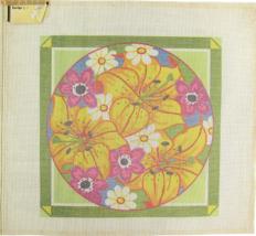 "Vintage 1970s Hand Painted Canvas ""817"" Floral Radiance Bouquet of Beaut... - $38.25"