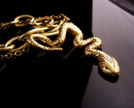 Vintage Snake necklace set - rhinestone serpent - gold  Egyptian goddess... - $75.00