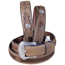 U-4-42 42 Inch Western Nocona Conchos Leather Mens Belt Ostrich Tan Overlay - $48.95