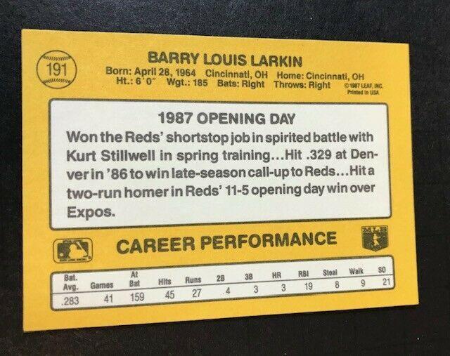 1987 Donruss Opening Day  Set #191 Barry Larkin Cincinnati Reds Rookie Card image 2