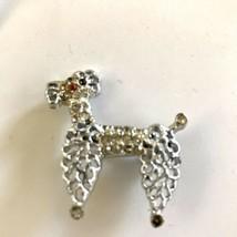 "Vintage 1 1/2"" silver tone pewter Poodle Dog rhinestone pin Brooch J6618 - $9.49"