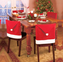 1pc Santa Claus Cap Chair Cover Christmas Dinner Table Red Hat Snowflake... - $4.47