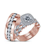 Christmas Gifts , Rose Gold Plated 925 Pure Silver Bride And Groom Trio Ring Set - $147.99