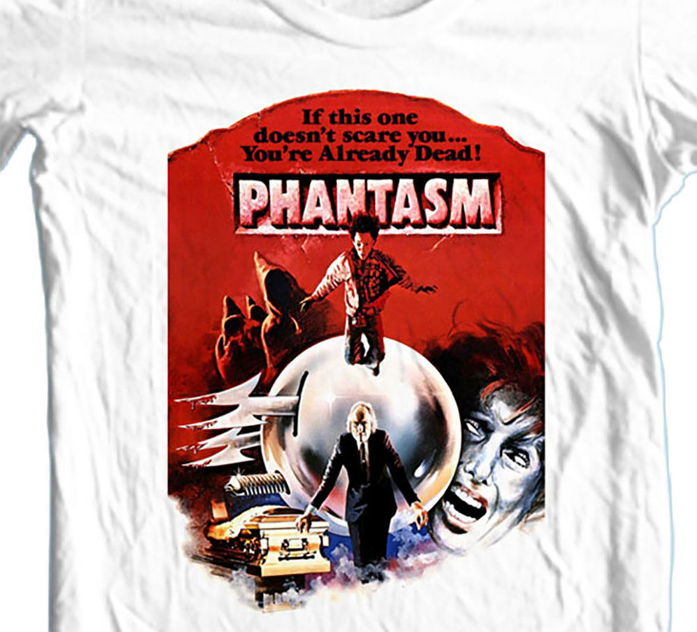Phantasm T-shirt retro 1980s sci-fi horror b-movie zombie 100% cotton white tee