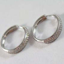 White Gold Earrings 750 18K Circle, Diameter 2 cm, Triple Row Zircon, 3 MM image 3