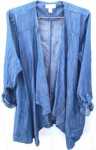 jaclyn smith roll-tab sleeve fly away coat denim Womens L Tunic Fall Jac... - $24.90