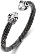 Elastic Adjustable Mens Women Skull Cuff Bangle Bracelet Stainless Stee... - $26.64