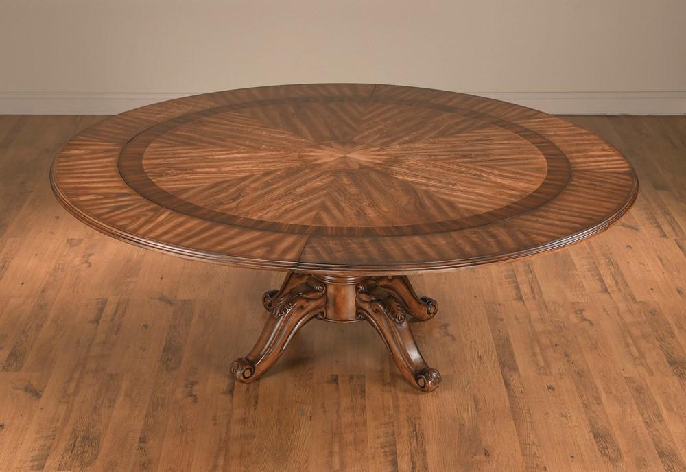 Traditional Medium Brown Natural Wood Round Pedestal Dining Table by AAImporting