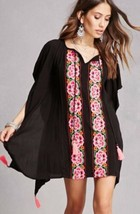 Forever 21 RD & Koko Embroidered Black Rose Floral Tassel Tunic Boho Top... - $18.48