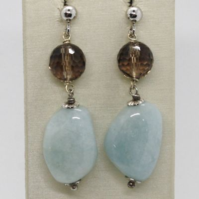 EARRINGS SILVER 925 RHODIUM PLATED WITH AQUAMARINE NATURAL AND SMOKED QUARTZ