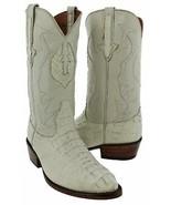 Genuine Crocodile Hornback Mens Western Leather Off White J Toe Cowboy B... - $199.99