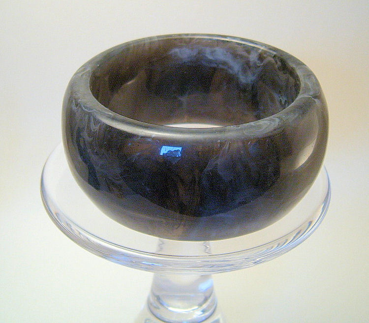 Bangle Bracelet Lucite Wide Chunky Marbled Black White and Gray
