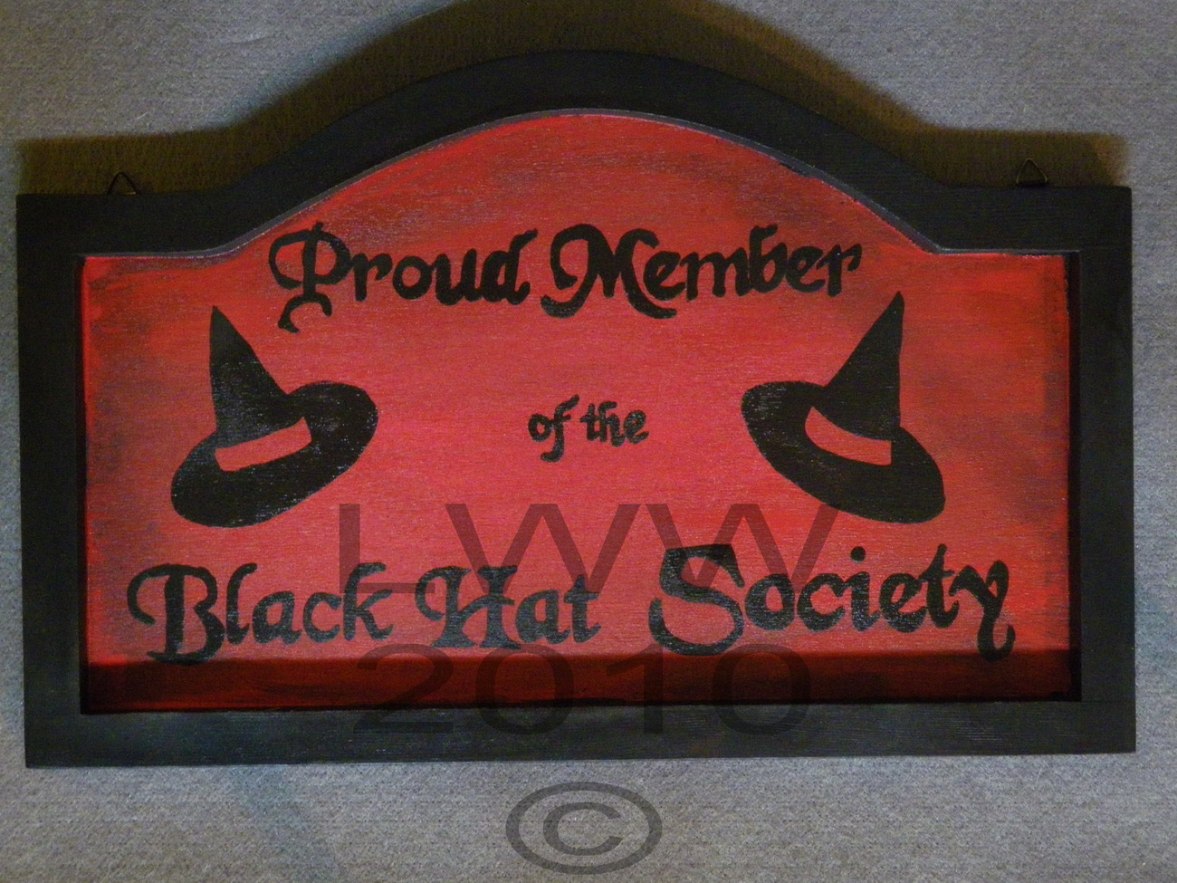 Hand-painted Red & Black Wood Black Hat Society Witch Sign