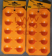 2 Orange Halloween Pumpkin-shaped Ice Cube Trays NEW - $4.99