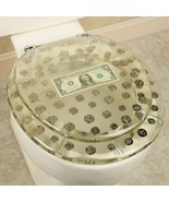 RESIN TOILET SEAT BIG MONEY DOLLAR, COINS, STANDARD ROUND CHROME HINGE - $79.19