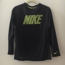 Nike Boy's Black Dri-Fit Long Sleeve Athletic Polyester Running Shirt EUC Sz L - $20.78