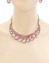 Zierliche Rose Rosa Acryl Kristalle Abend Halskette Ohrringe Set Kostüm Schmuck - $26.88