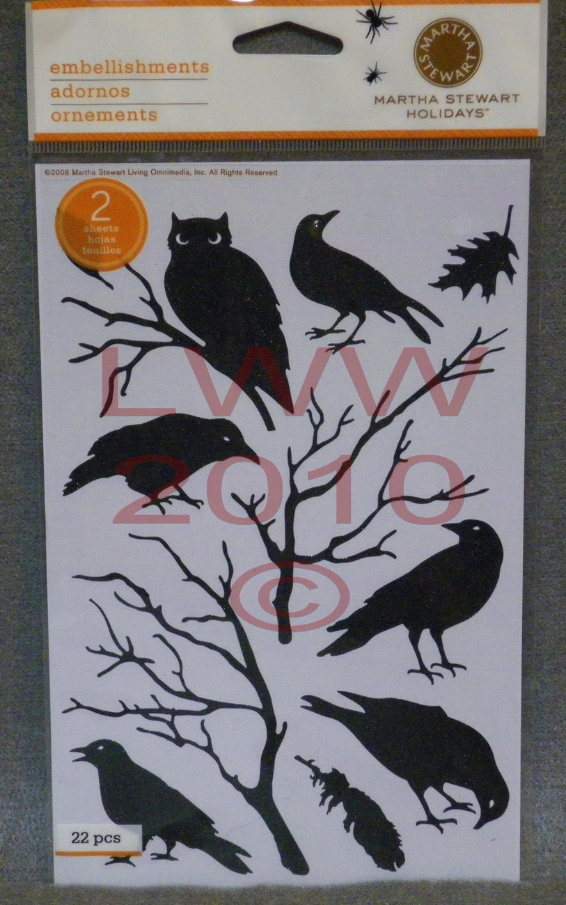Martha Stewart Halloween Black Glitter raven owl stickers