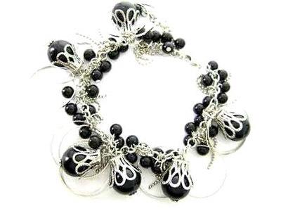 044bb black sea shell pearl bracelet