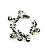 Bracelet Chunky Black Sea Shell Pearls Silver Chains & Hoops - $9.99