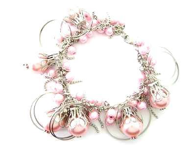 044bp pink sea shell pearl bracelet