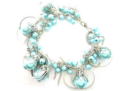 044bb blue sea shell pearl bracelet