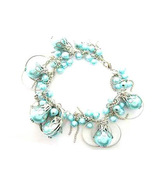 Bracelet Chunky Blue Sea Shell Pearls Silver Chains & Hoops - $9.99