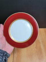 Fitz & Floyd Renaissance Cinnabar Bread Plate Rust Red Band Gold Ring  - $3.22